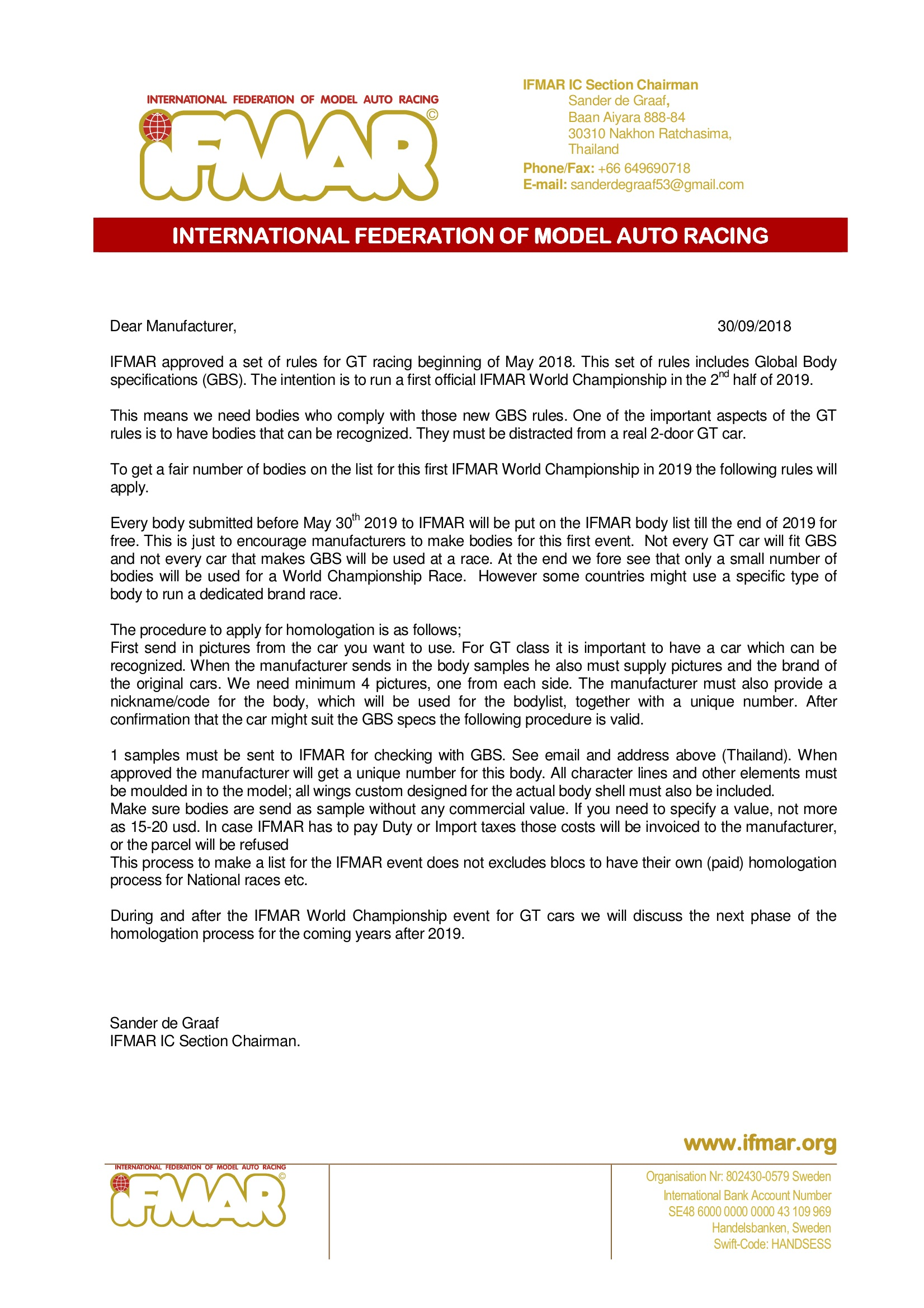 IFMAR GT Class GBS 2019 | FAMAR - Fourth Association of Model Auto